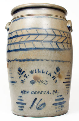 Fine 16 Gal. R. T. WILLIAMS / NEW GENEVA, PA Stoneware Jar