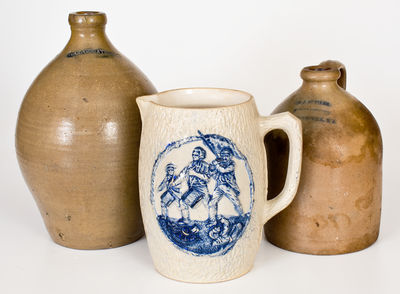Lot of Three: Northeastern Cobalt-Decorated Stoneware