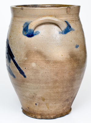 Fine att. William Capron, Albany, NY Stoneware Jar w/ Incised Bird and Floral Decoration, c1800-1805