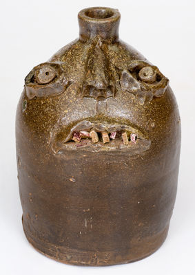 Rare Southern Stoneware Face Jug, Alabama or Georgia origin, late 19th / early 20th century