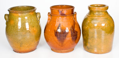 Lot of Three: Glazed Redware Jars, NY, NJ and Canada