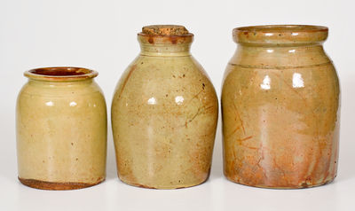 Lot of Three: Glazed Redware Jars, NY / Canada