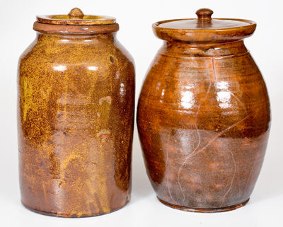 Lot of Two: Probably New York State Glazed Redware Jars with Lids