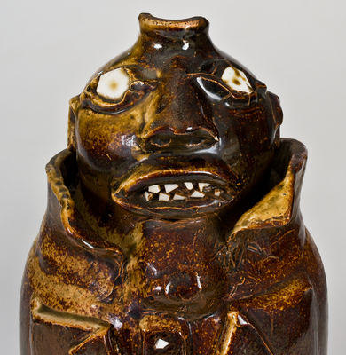 Exceptional Large-Sized Stoneware Face Jug, Alabama origin, late 19th or early 20th century