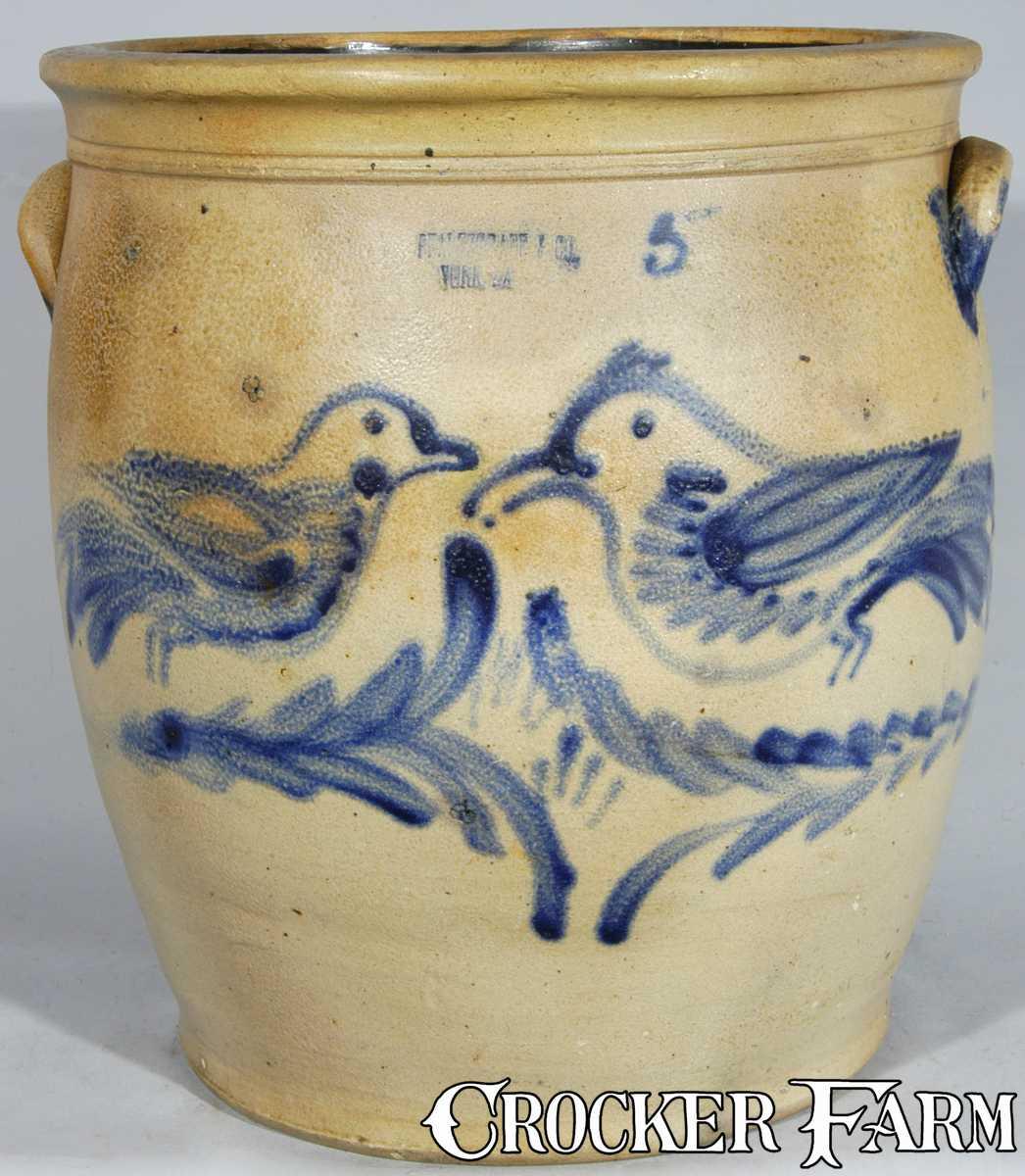 J.B. PFALTZGRAFF / YORK, PA Stoneware Birds Crock -- Lot 152 ...