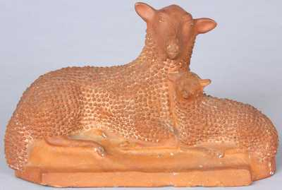 Shenandoah Valley Redware Lamb Group, attributed to Solomon Bell