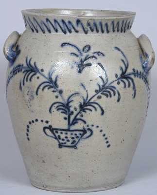 Baltimore Stoneware Jar w/ Slip-Trailed Floral Decoration