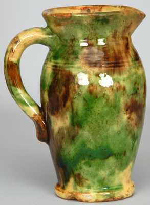 Multi-Glaze Redware Pitcher, Bell or Eberly Family, Strasburg, VA