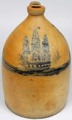 New York or New England Stoneware Ship Jug