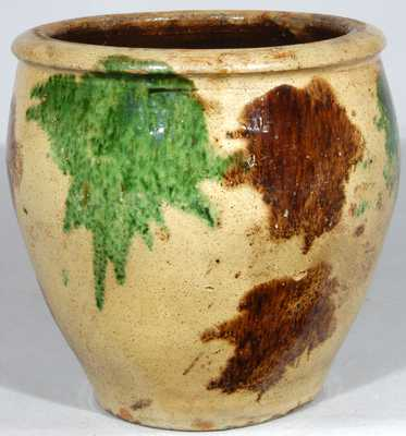 S. BELL & SON / STRASBURG Virginia Multi-Glaze Redware Jar