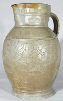Stoneware Pitcher w/ Incised Birds, probably Webster School, Randolph County, NC