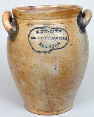J. REMMEY / MANHATTAN-WELLS / NEW-YORK Stoneware Crock w/ Incised Floral