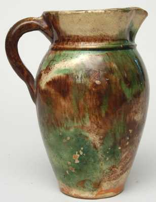 S. BELL & SON / STRASBURG (Virginia) Multi-Glaze Redware Pitcher