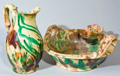 Multi-Glazed Redware Pitcher & Washbowl Set, attrib. Eberly, Strasburg, VA