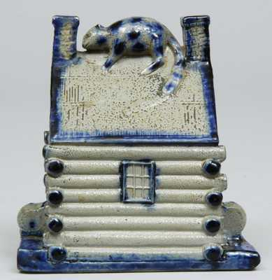 American Stoneware Log Cabin Bank