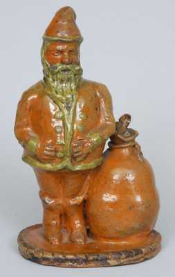 Antique Pennsylvania Redware Santa Claus Bank