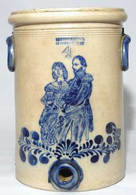 FENTON & HANCOCK / ST. JOHNSBURY, VT. Stoneware Water Cooler Depicting a Soldier & His Wife
