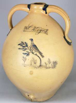 JULIUS NORTON / BENNINGTON, VT. Presentation Stoneware Water Cooler w/ Incised Birds