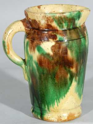 Multi-Glazed Redware Cream Pitcher, Strasburg, Virginia