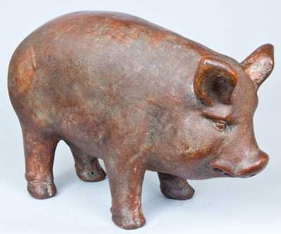 Large-Sized Stoneware Figure of a Pig, Midwestern