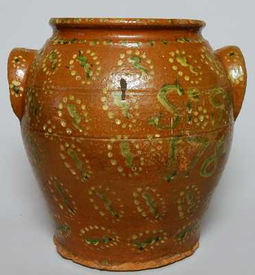 Early Redware Jar, Dated 1784