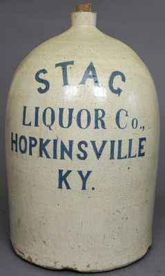 STAG LIQUOR Co., HOPKINSVILLE, KY 20-Gallon Stoneware Jug