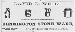 Illustrated 1859 ad for a Boston merchant selling BENNINGTON STONE WARE.