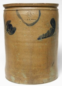 Impressed G & A BLACK stoneware jar, sold in our October 30, 2004 auction.
