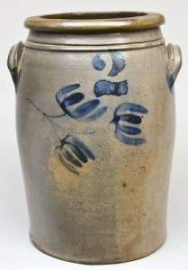 Stoneware jar attributed to G. & A. Black or Albert Black, Somerfield or Confluence, Somerset County, PA, sold in our November 1, 2008 auction.