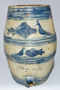 1817 Boynton Stoneware Keg Cooler, Sold for $103,500 on 3/21/09. Possibly made in the same kiln as the newly-discovered example.