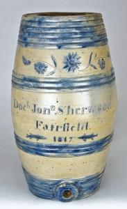 NEW DISCOVERY: Important 1817 Presentation Stoneware Keg Cooler att. Jonah and Calvin Boynton, Albany, NY