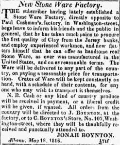 1816 Albany Argus ad placed by Jonah and Calvin Boynton