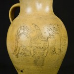 Stoneware pitcher with incised eagle and patriotic shield dated 1826, inscribed with the mysterious name, Henry R____.