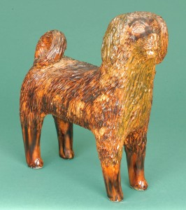 Large-Sized Standing Redware Dog by the Bell Family. To be sold in the Wm. Kelly Young Collection on 1/30/10.