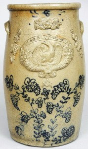 Ohio stoneware churn with applied eagle and other decorations