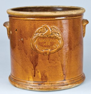 Albany-slip glazed Edmands crock with applied eagle incorporated into mark