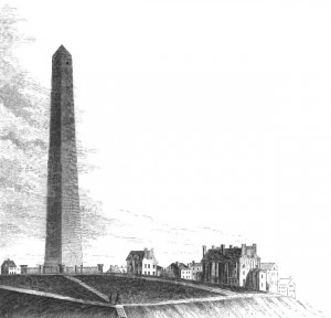 The Bunker Hill Monument circa 1850, from Benson J. Lossing's Pictorial Field Book of the Revolution