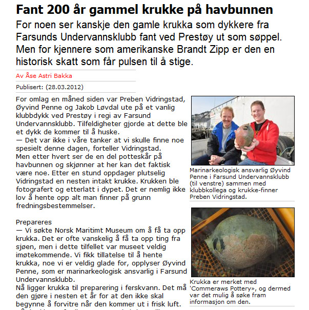 The Farsund Avis's article on the recent underwater recovery of a Commeraw jug off the Norwegian coast.