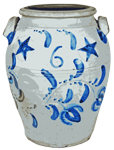 HAMlLTON & CO. / Greensboro, PA Six-Gallon Stoneware Jar w/ Stars