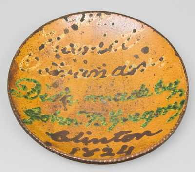 Slip-Decorated Redware Presentation Plate, Clinton, NY, Dated 1824.