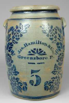 Jas. Hamilton & Co. / Greensboro, PA Rose-Decorated Stoneware Crock