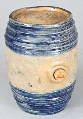 Cobalt-Decorated Stoneware Rundlet, Northeastern U.S. Origin.