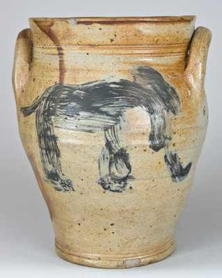 Early Stoneware Jar with Elephant Decoration.