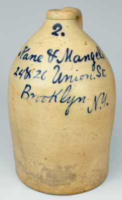 NJ Stoneware Jug with Brooklyn Advertising, Stamped
