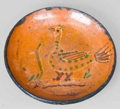Slip-Decorated Redware Plate with Bird Motif, PA origin.