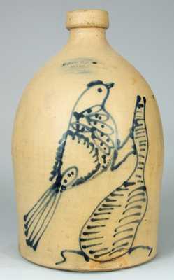 O.L. & A.K. BALLARD / BURLINGTON, VT Stoneware Jug w/ Bird on Stump