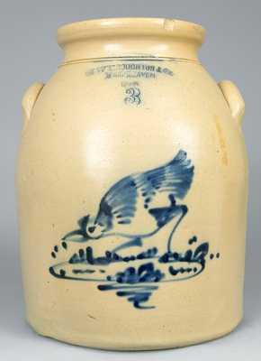 CT Stoneware Jar with Cobalt Chicken Pecking Corn Decoration.