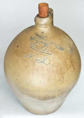 Early Stoneware Jug with Incised Fox and Bird Decoration