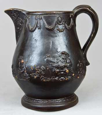 Albany Slip Glazed Stoneware Pitcher, Stamped