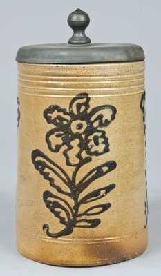 Large-Sized Cobalt-Decorated Stoneware Mug.